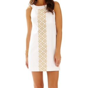 """Lilly Pulitzer White and Gold """"Jacqueline"""" Dress"""